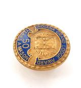 "10K GOLD & ENAMEL INDIANA USA ""50 YEARS A MASON"" PIN."