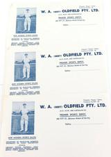 SCARCE 3 x W. A. (BERT) OLDFIELD PTY LTD BLANK OFFICIAL LETTERHEADS / STATIONERY