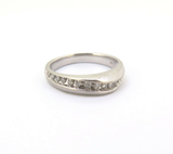 Vintage Contoured 10k White Gold & Diamond Set Ring Band Size M 1/2