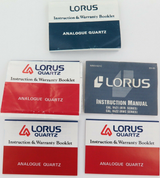 SELECTION OF 1980s & 1990s LORUS FOLDOUT INSTRUCTION & WARRANTY BOOKLETS