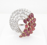 Vintage 6.01ct Ruby & 3.10ct Diamond 18k White Gold Ring Size O1/2 Val $23760