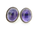 Gorgeous Pair of Sterling Silver & Oval Amethyst 16x6mm Stud Earrings 11.4g