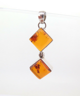Delightful Sterling Silver & Square Golden Amber Hinged Pendant 6.2g