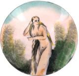 1800s VICTORIAN NUDE BOHEMIAN STYLE ENAMEL LARGISH ROUND CONVEX METAL PLAQUE #1