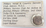 RARE c1850 MILITARY NAVAL & COUNTRY SERVICES CLUB STERLING SILVER LAPEL BUTTON.