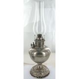 "LARGE VINTAGE USA MADE ""ROYAL"" KEROSENE TABLE LAMP + GLASS FLUE CHIMNEY."