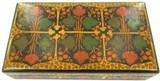GOOD QUALITY VINTAGE COLOURFUL PAPER MACHE TRINKET / JEWELLERY BOX.