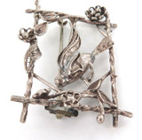 ARTS & CRAFT PERIOD STERLING SILVER SPRING TIME BIRD THEME BROOCH.