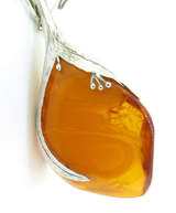 Vintage Nauralistic Style Handmade Polish Cognac Amber .800 Silver Necklace 39g