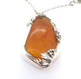 Vintage Statement Artisan Made Polish Stunning Amber .800 Silver Necklace 119g