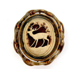 LARGE / VERY UNUSUAL 1800s PINCHBECK DEER THEME HUNTING ? SPINNER BROOCH.