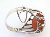 Elaborate Vintage Handmade Polish Caged Amber .800 Silver Hinged Bangle 77.6g
