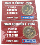 2 x 2003 COURIER MAIL QLD STATE OF ORIGIN UNOPENED MEDALLIONS.