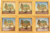 UNUSUAL SET OF 6 GEM STONE PAINTING GLASS TOP COASTERS.