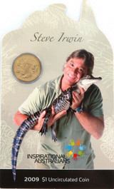 RAM 2009 INSPIRATIONAL AUSTRALIANS STEVE IRWIN $1 UNC COIN PACK / CARDED.