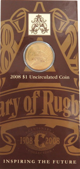 RAM 2008 CENTENARY RUGBY LEAGUE $1 UNC COIN PACK / CARDED. FREE POST IN AUST.