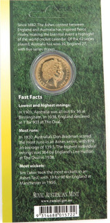 1882 - 2007 THE ASHES $1 UNC COIN PACK / CARDED. FREE POST IN AUST.