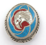 1988 STUNNING SSI HIGHLY INLAID HANDCRAFTED AMERICAN EAGLE LARGE BELT BUCKLE.