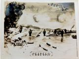 """RARE WW2 """"ATTACK AT BERBERA, SOMALIA"""" PHOTO of HAND-DRAWN SCENE. #1"""