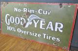Antique Goodyear No Rim Cut Double sided Heavy Porcelain Sign C.1910