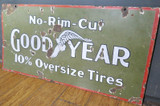 Antique Goodyear No Rim Cut Double sided Heavy Porcelain Sign C.1910