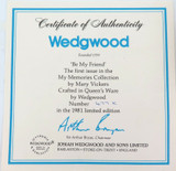 """1981 WEDGWOOD LIMITED EDITION COLLECTORS PLATE + COA + BOX. """"BE MY FRIEND"""""""
