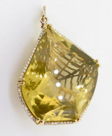 150ct Lemon Quartz & .95ct G Si Diamond Set 18K Yellow Gold Pendant Val $19200