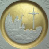 "SUPERB FRANKLIN PORCELAIN L/ED 1980 CHRISTMAS PLATE + BOX. ""JOY TO THE WORLD"""