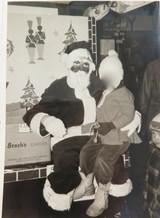 SLIGHTLY BIZZARE 1951 SANTA CLAUS LARGISH PHOTO. UNHAPPY GLOOMY FACE.