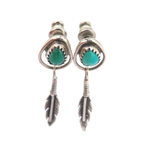 Pretty Navajo Style Sterling Silver Feather & Turquoise Earrings 3.3g