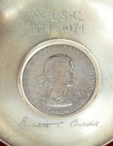 1974 WINSTON CHURCHILL ENGLISH STERLING SILVER DISH w INLAID 1965 COIN + BOX.