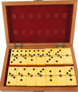 JUST SUPERB / FAUX BONE DOMINO SET WITH CENTRE METAL RIVETS STUNNING INLAID BOX