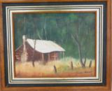 VINTAGE FRAMED OIL ON BOARD. DENNIS HORNER 1981, BUSH SCENE. AUSTRALIAN ARTIST.