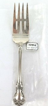 """TOWLE """"OLD MASTER"""" PATTERN STERLING SILVER COLD MEAT FORK + ORIGINAL SLEEVE."""