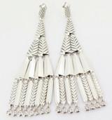 Auth David Yurman Diamond Set Dangle Fringe Silver 925 Earrings RR $2800usd