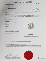 Vintage Handmade 17ct Aquamarine Diamond 18k Gold Cocktail Ring Size Q Val$18900