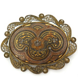 ANTIQUE HANDPAINTED WITH GOLD GILT / EXTREMELY NICE LARGISH BROOCH.