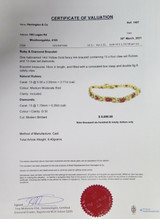 3.77ct Ruby & Diamond Set 14ct Gold Fancy Link Bracelet 18cm Long Val $9690