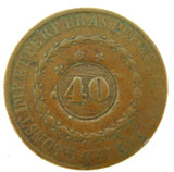 c1820s BRAZIL HEAVILY CENTRE STAMPED 40 REIS COPPER COIN.