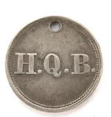 1864 UNKNOWN H.Q.B. SMALL SILVER HOLED TOKEN ?