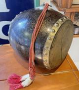 Antique Japanese Ceremonial Lacquer Wooden Taiko Drum Meiji period