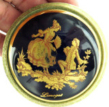 VINTAGE LIMOGES LADIES COMPACT WITH CLASSIC LOVERS SCENE, SIGNED.