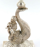 VINTAGE BOY PLAYING INSTRUMENT ON DOLPHIN NEO-CLASSICAL STYLE SILVERPLATE FIGURE