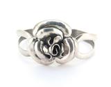 Vintage Sterling Silver Stylised Rose Design Adjustable Bracelet 26.7g
