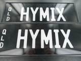RARE QUEENSLAND REGO NUMBER PLATE  HYMIX   NEAR MINT, NEVER FITTED, FRONT & BACK