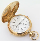 Antique 1883 Anglo American Chronograph Heavy 18K Yellow Gold 49mm Pocket Watch