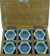 RARE SET WW2 43-44 PNG AUSTRALIAN TRENCH ART NAPKIN RINGS + PURPOSE BUILT BOX.