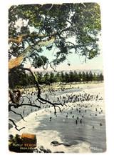 RARE VIEW 1908 MANLY BEACH, SYDNEY COLOUR POSTCARD