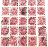 45 x c1949 5/- & 10/- AUSTRALIAN COAT OF ARMS USED HINGED STAMPS.