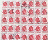 70 x 1959 3/- WARATAH USED HINGED STAMPS incl STRIPS 2 & 3.